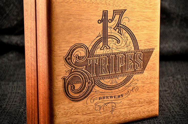 Laser engraved wooden cigar box