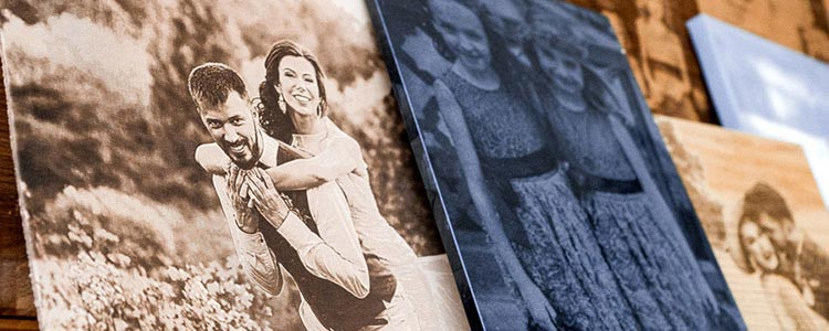 wedding photos engraved with a laser on a variety of materials