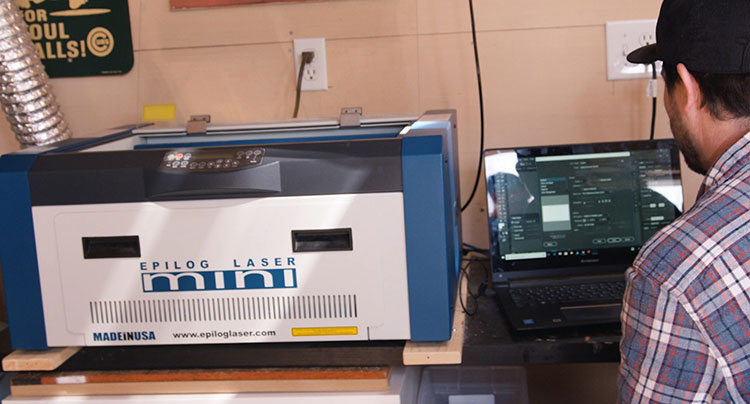 Epilog Laser machine in a small space.