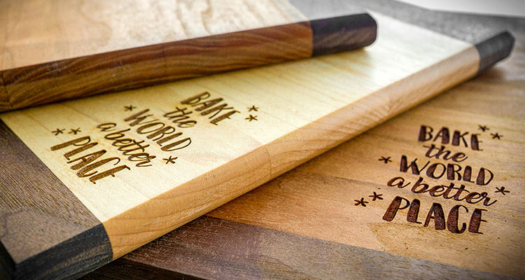 Laser engraved wooden cutting boards.