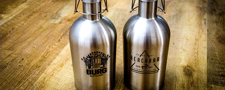 Stainless steel growlers marked with a co2 laser