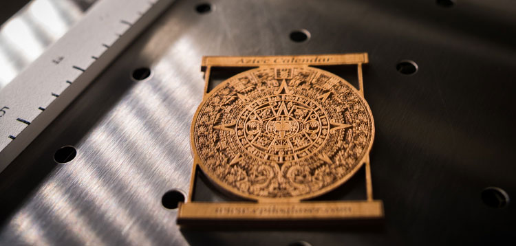 Aztec calendar engraved by an Epilog Laser machine