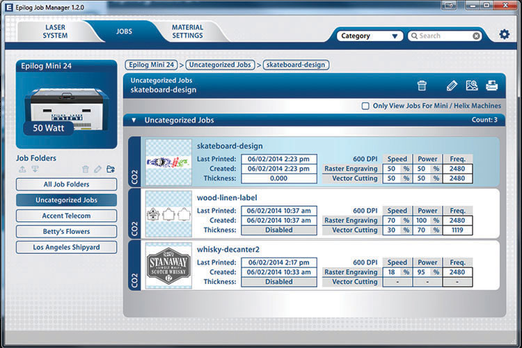 Screenshot of the Epilog Job Manager software.