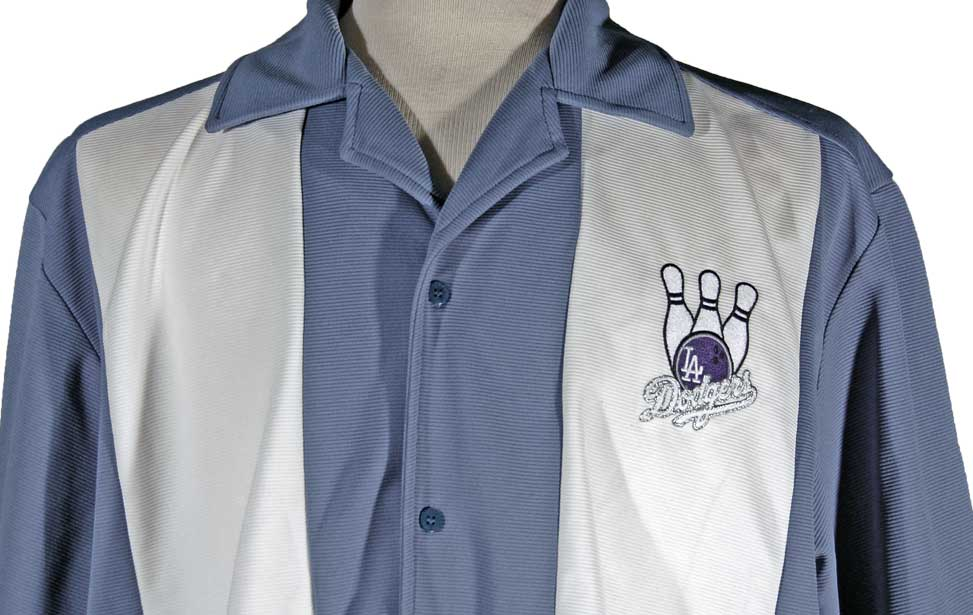 A bowling shirt with a laser cut applique.