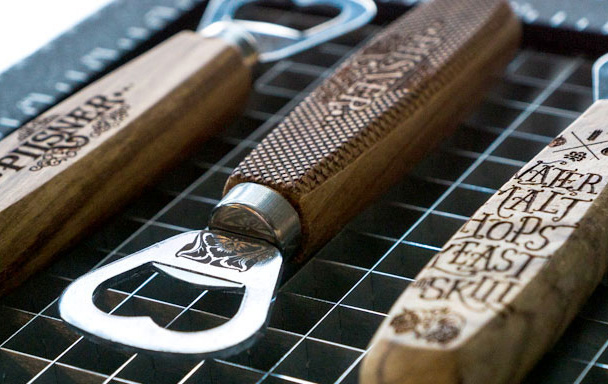 laser engraved metal and wood bottle opener