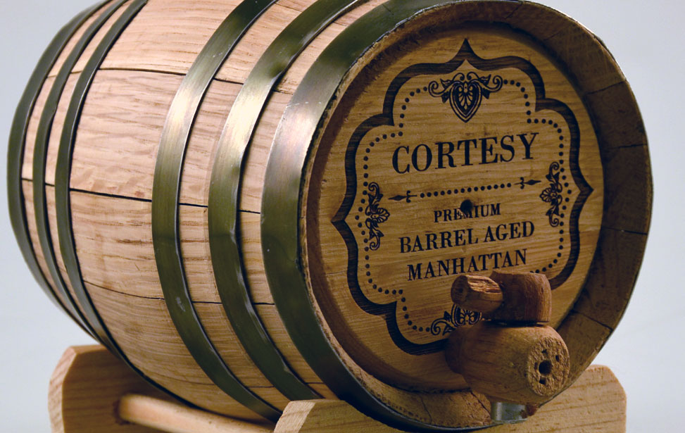 laser engraved wood whisky barrel
