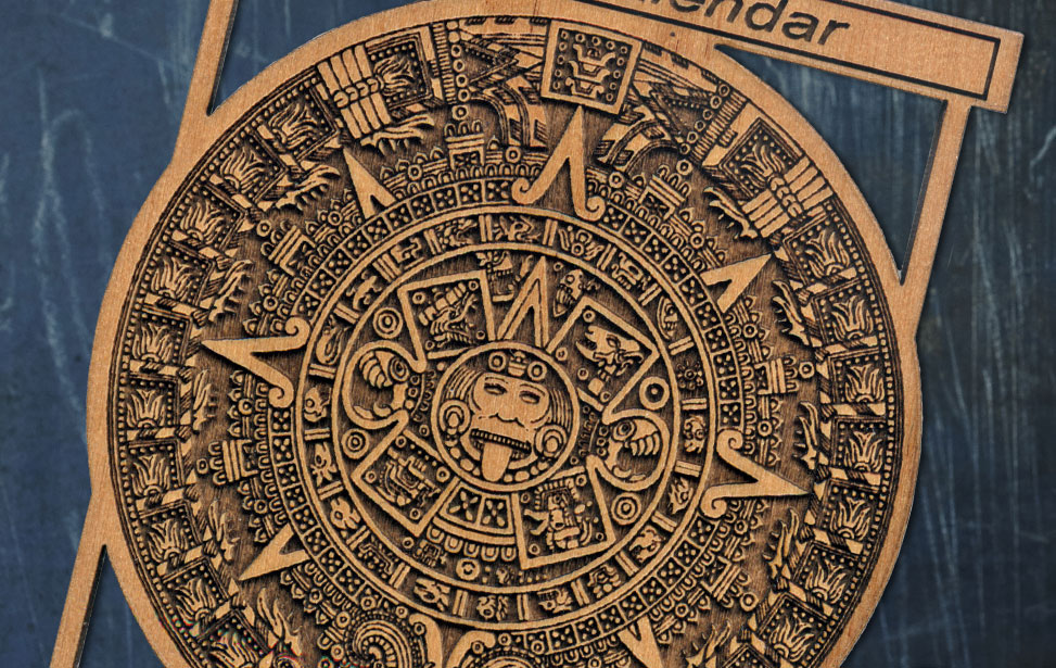 highly detailed aztec engraving