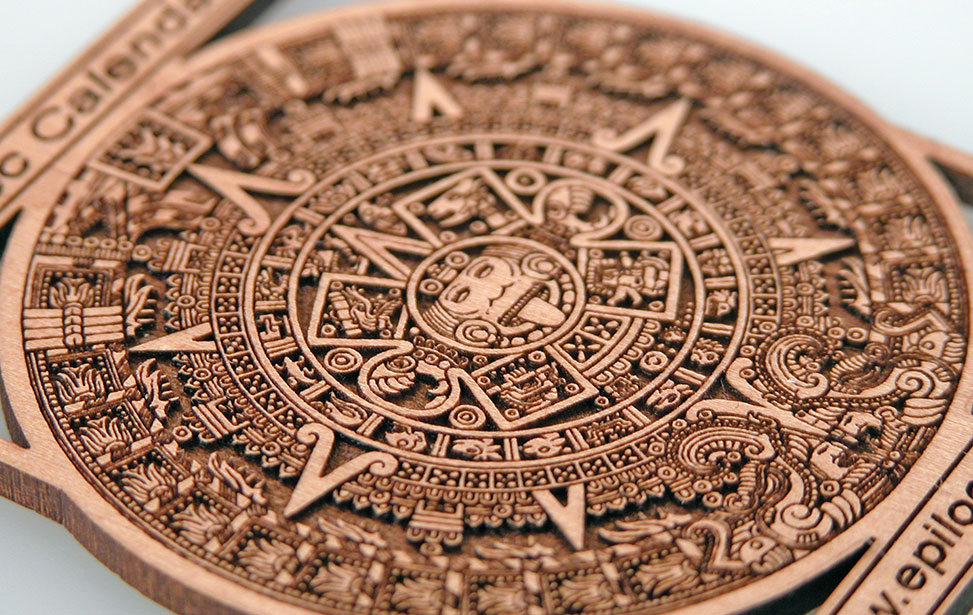 laser engraved and cut aztec calendar