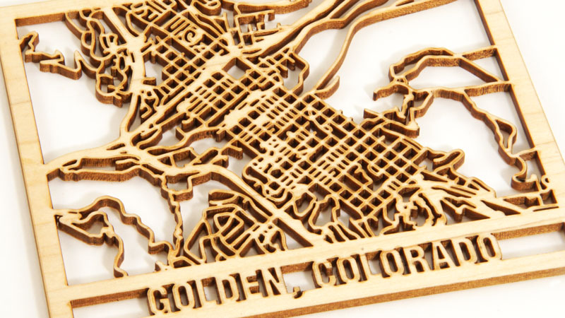 maple laser cut map of golden, colorado
