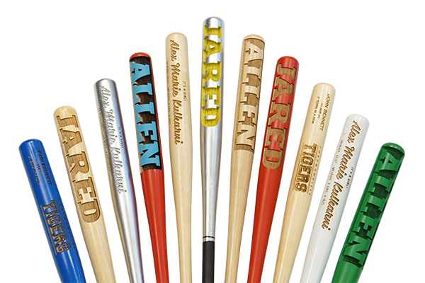 laser engraved minature baseball bats