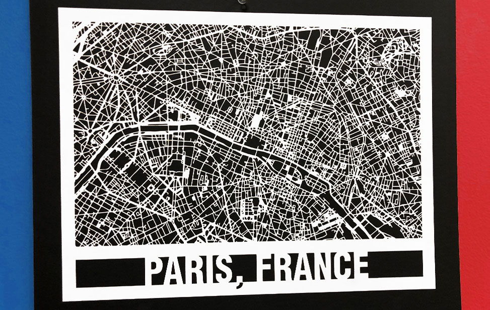 Laser Cut Paper Paris France City Map