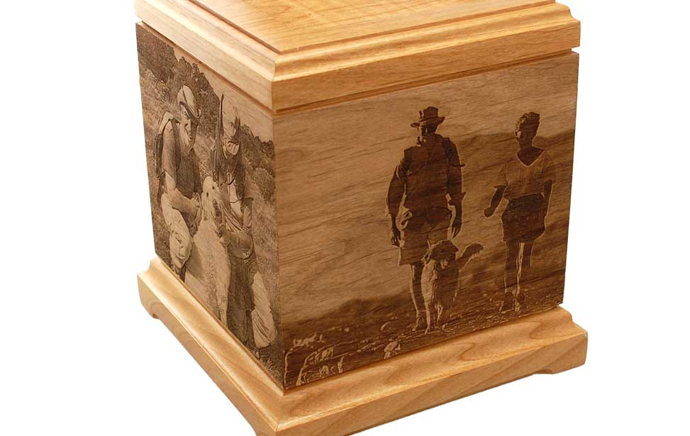 wood pet urn shows off how photography can be added to many wood ...
