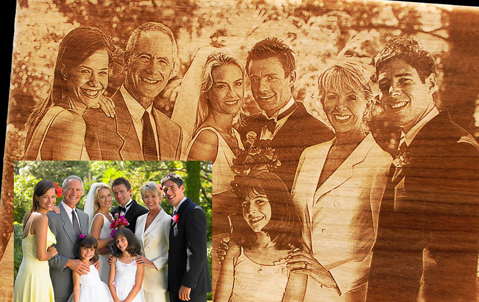 Laser Engraved Wedding Party Photo