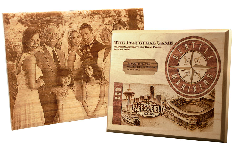 Laser engrave inlays and photos on plaques.
