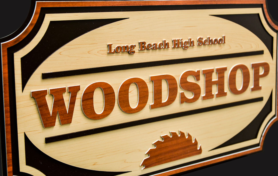 laser cut school classroom woodshop sign