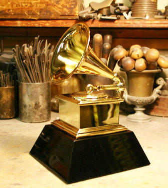A grammy award prior to engraving.
