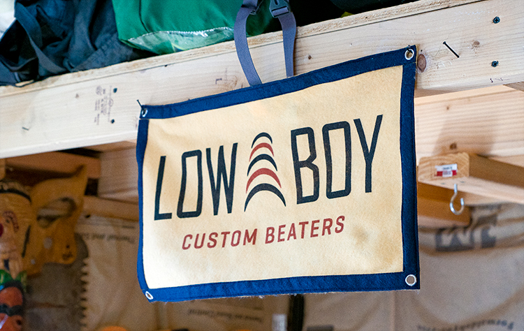 Canvas sign in Low Boy Custom Beaters workshop.