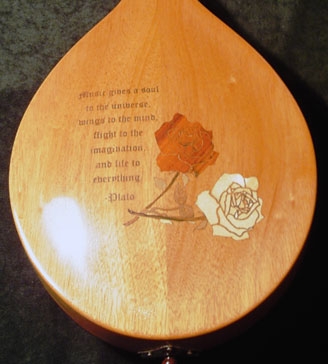 A laser engraved and inlaid mandolin.