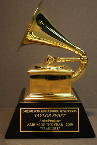 Grammy with laser engraved name plate.
