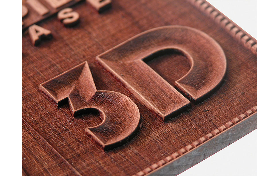 Rubber stamp laser applications gallery for engravers and cutters detail of 3d engraved letters 3d engraved letters spiritdancerdesigns Image collections