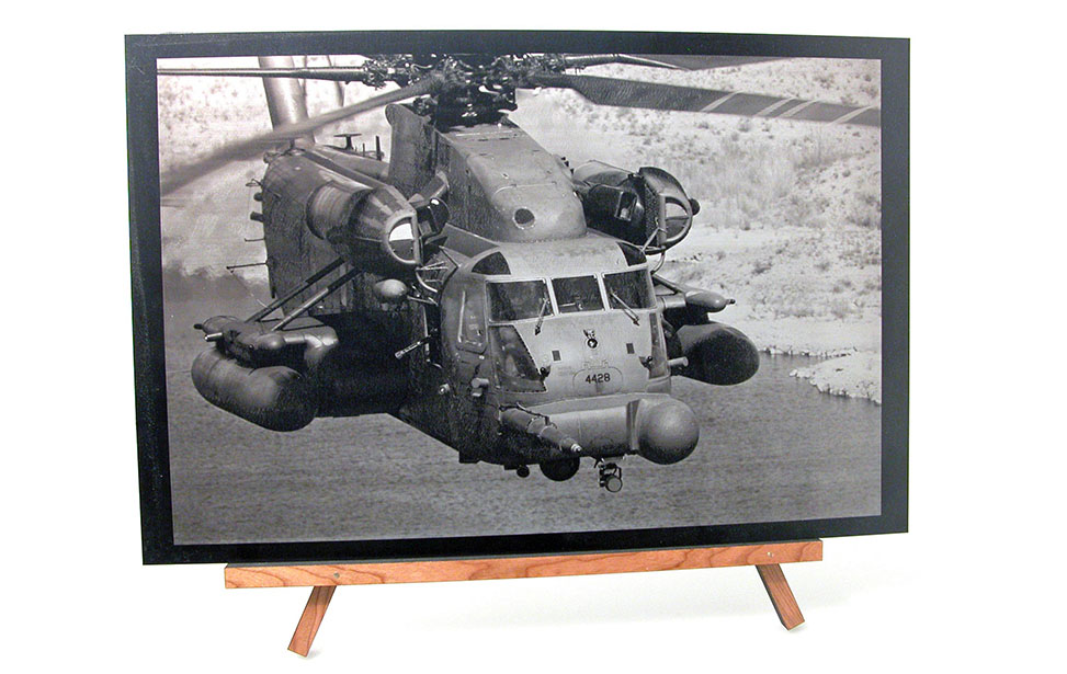 Laser Engraved Photo of a Helicopter on Anodized Aluminum