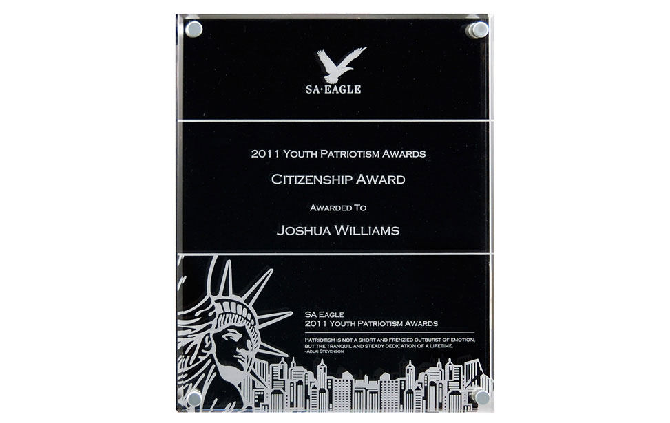 Engraved Acrylic Award with Standoffs