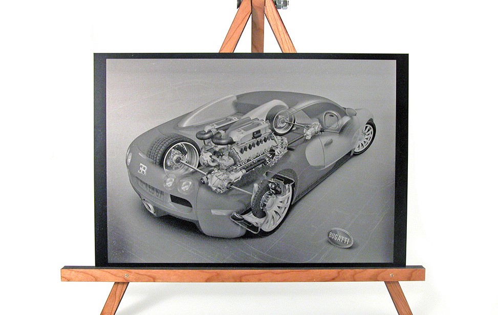 Laser Engraved Anodized Aluminum Car Mechanics Photo
