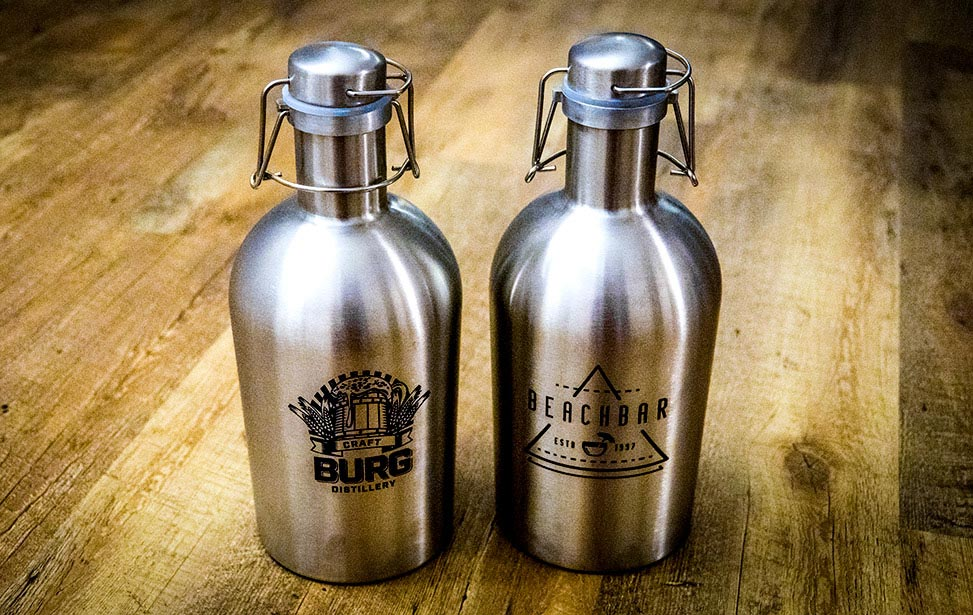 CO2 Laser Marked Stainless Steel Growlers
