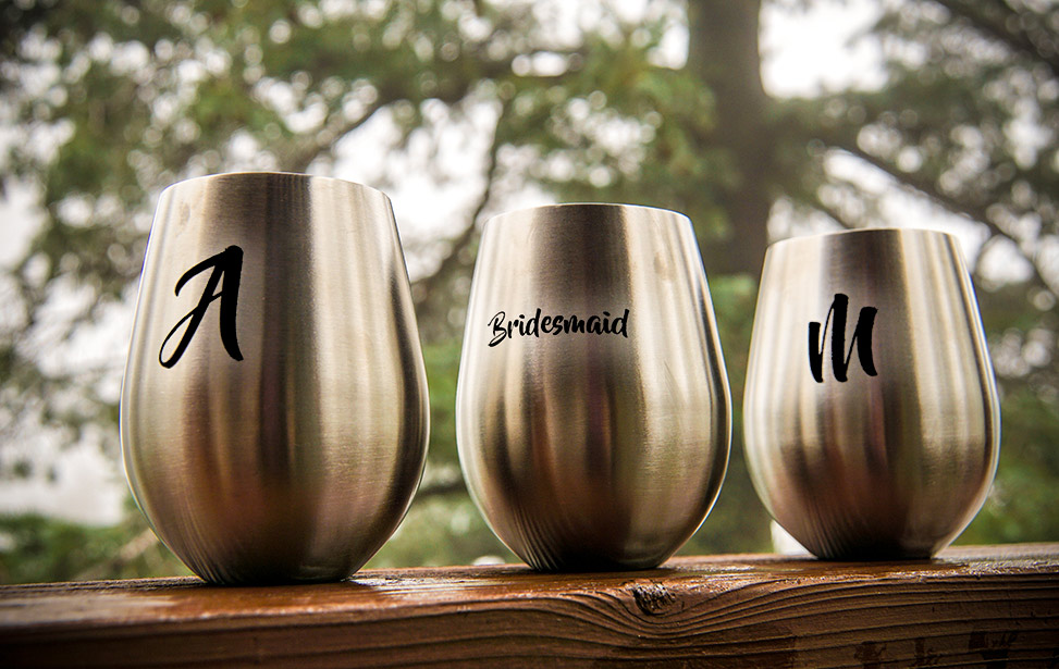 Stemless Wine Glasses Marked with CerMark