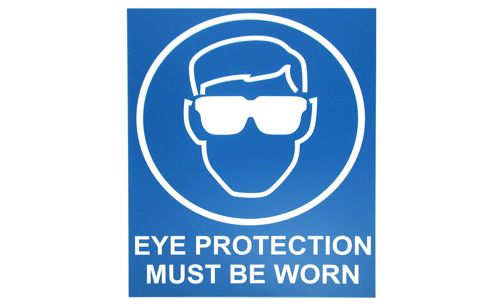 Indoor eye protection check point saftey signage