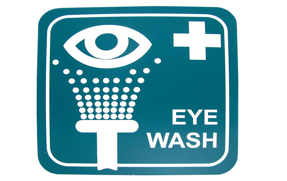 Laminate plastic eye washing station indoor signage