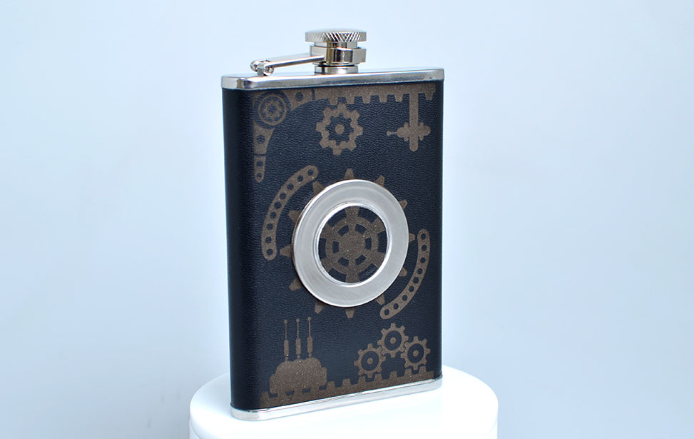 Laser Engraved Leather Flask