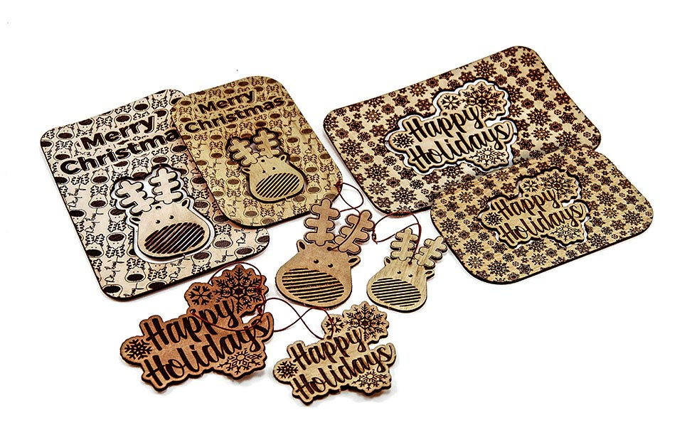 Laser Cut and Engraved Leather Holiday Cards and Ornaments
