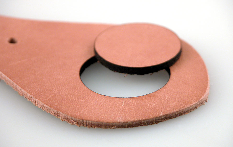 A Laser Cut Hole in Leather