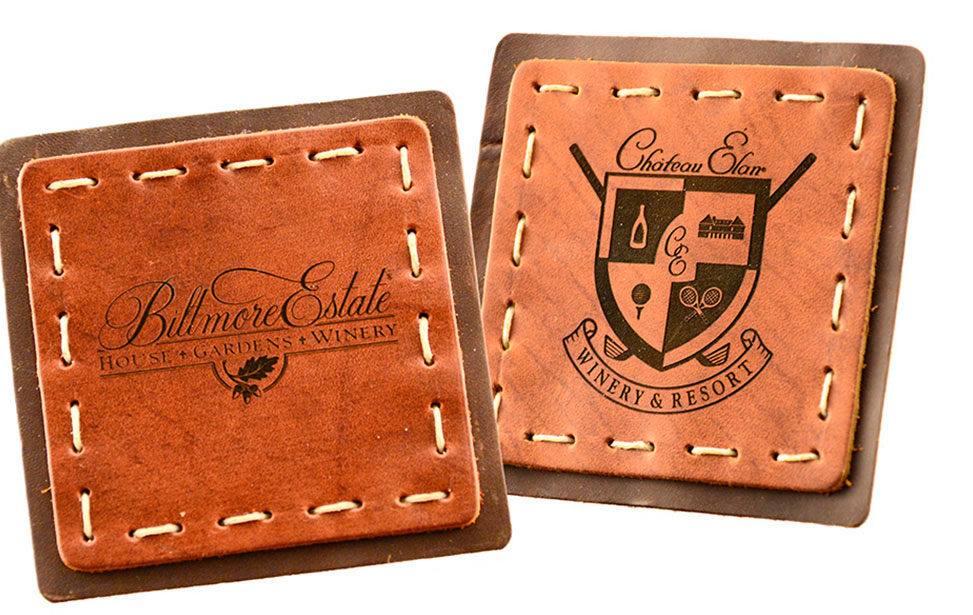 Laser Egraved Leather Wine Coaster