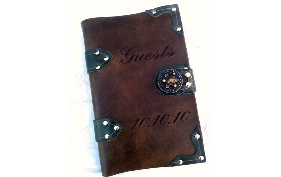 Laser Egraved Leather Guest Book