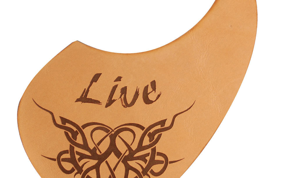 Laser Engraved Leather Guitar Pick Guard