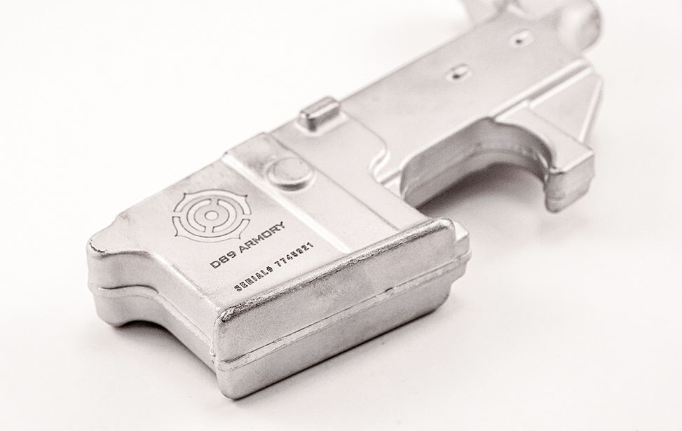 Gun Part Engraved with an Epilog Fiber Laser