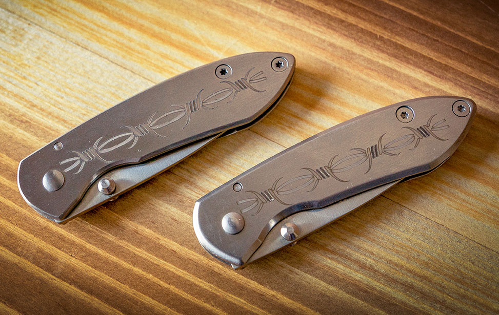 Pocket Knives Marked with an Epilog Fiber Laser