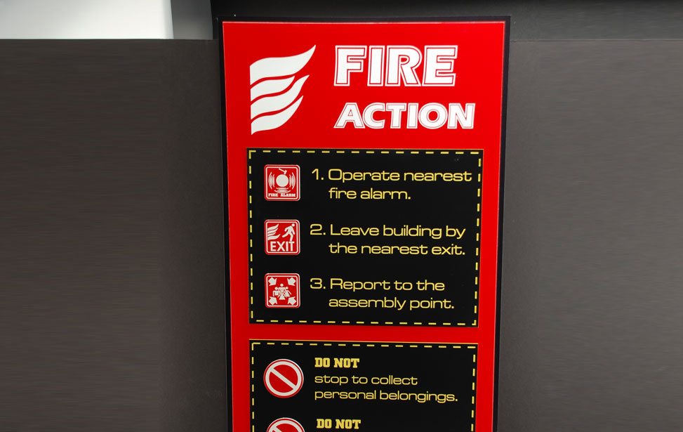 Fire Saftey Action Signage