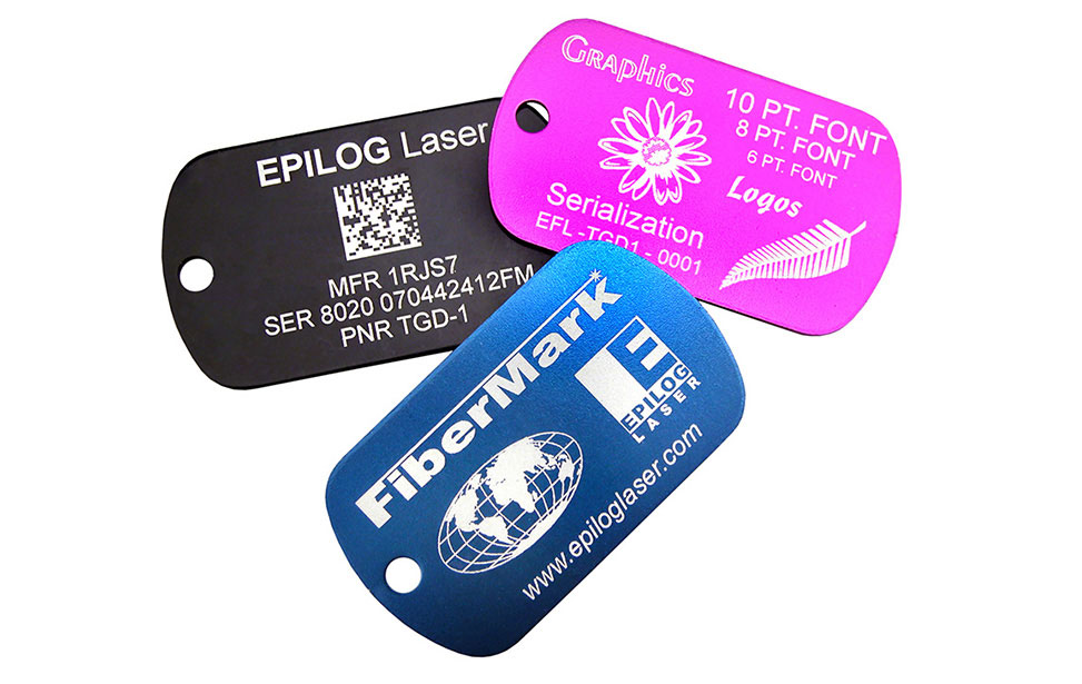 Aluminum Tags Marked with an Epilog Fiber Laser