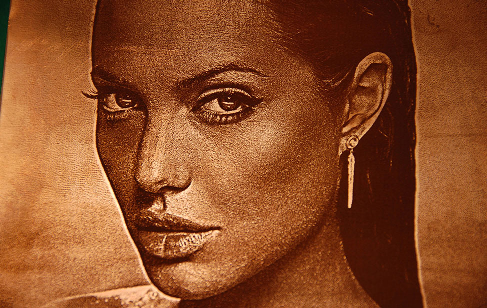 Angelina Jolie on Brass with an Epilog Fiber Laser