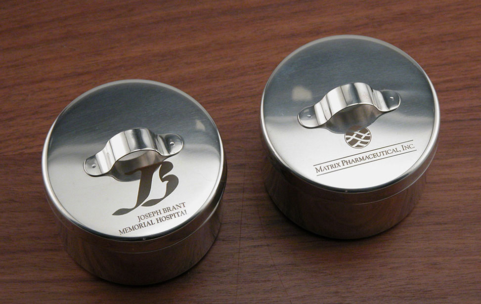 Metal Containers Marked with an Epilog Fiber Laser