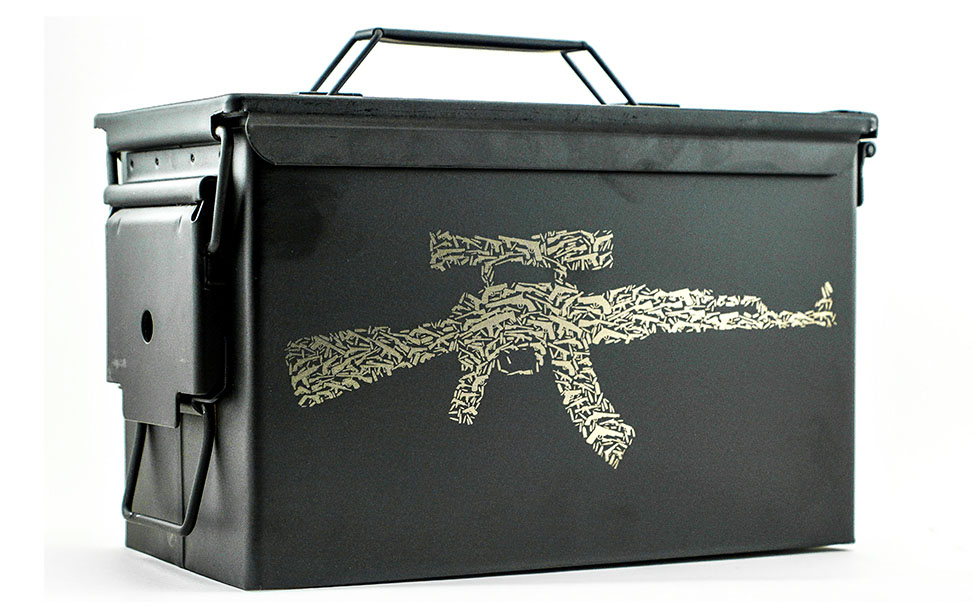 Laser Engraved Coated Metal Ammo Case