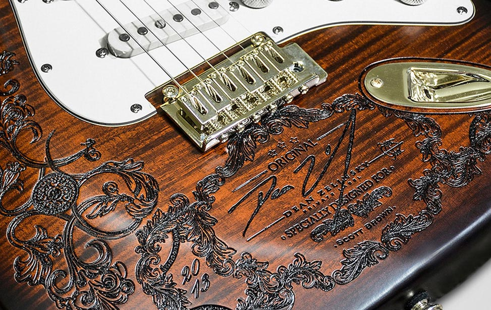 Detail of Laser Engraved Dean Guitar Body