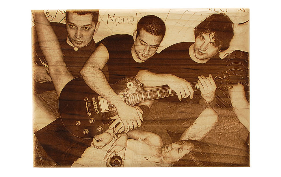 Photo Engraving of Band on Wood
