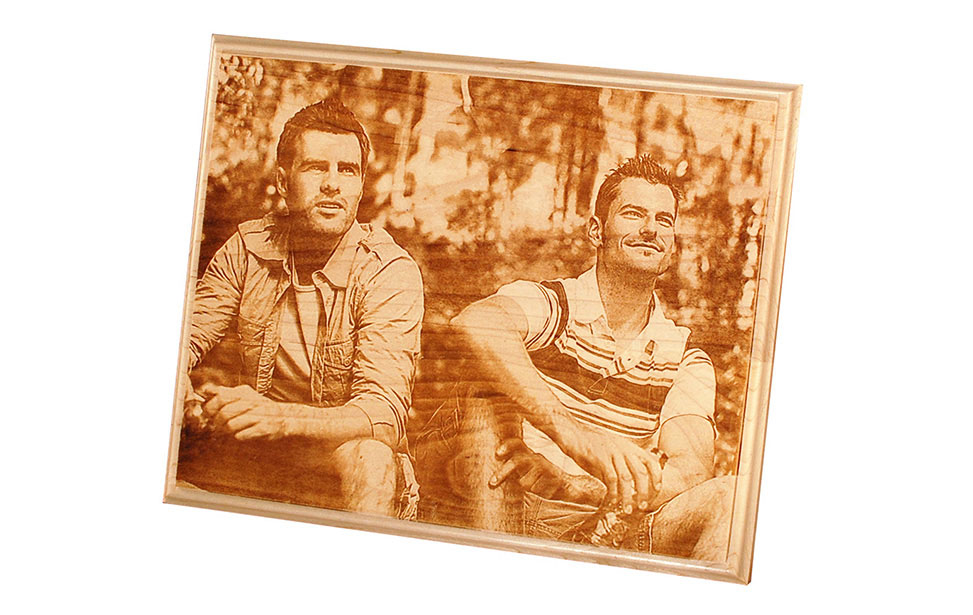 Photo Engraving of Two Hikers on Wood