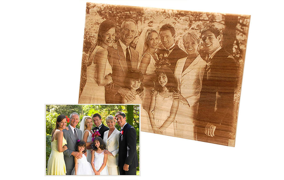 Laser Engraved Photo in Wood