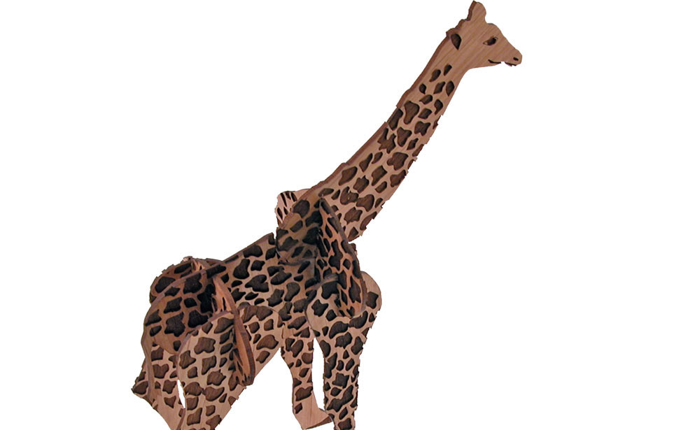 Giraffe puzzle model made from wood with giraffe pattern