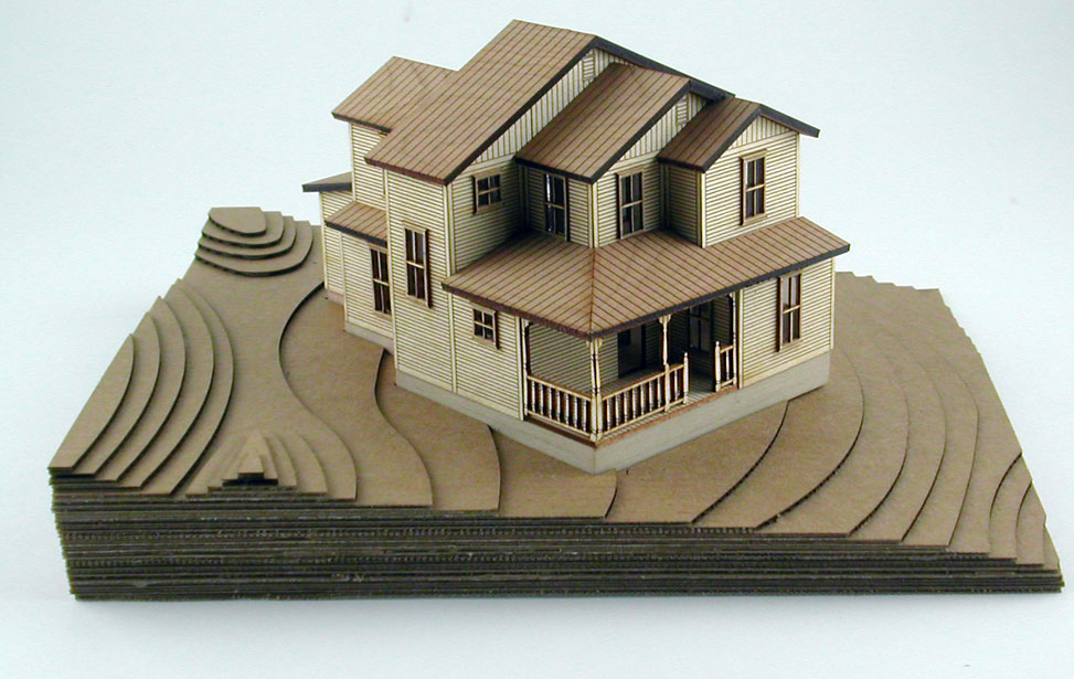 architectural model house and topograpic landscape